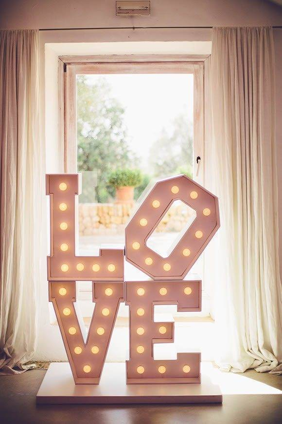 Beautiful Wedding Decor Love Sign by Alago Events - Luxury Wedding Gallery