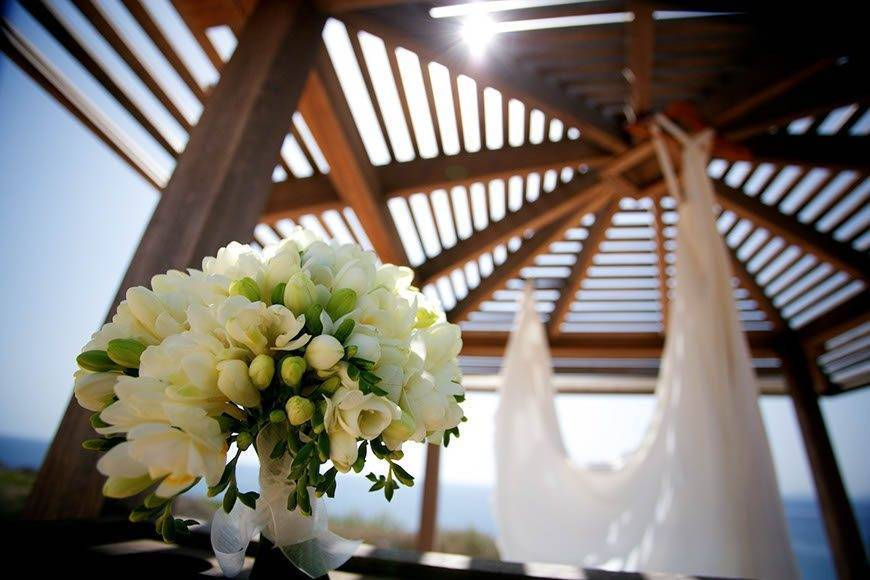 Designer wedding dress at Cap Rocat by Alago Events - Luxury Wedding Gallery
