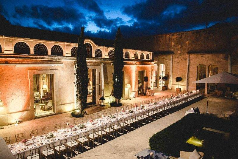 Long table set up at Cap Rocat by Alago Events - Luxury Wedding Gallery