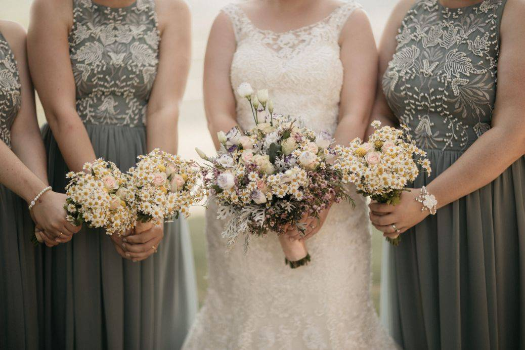 The beautiful blossoms and bridesmaids