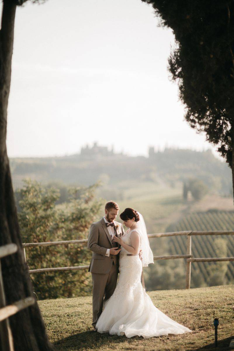 The couple chose the stunning Tuscan landscape for their special day.