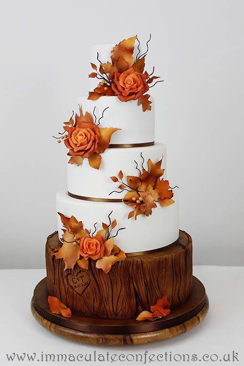 Autumn Rose Wedding Cake 2 - Immaculate Confections - Gallery