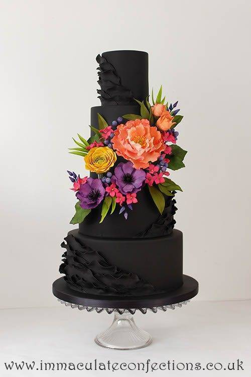 Black and Bright Floral Wedding Cake 2 - Immaculate Confections - Gallery