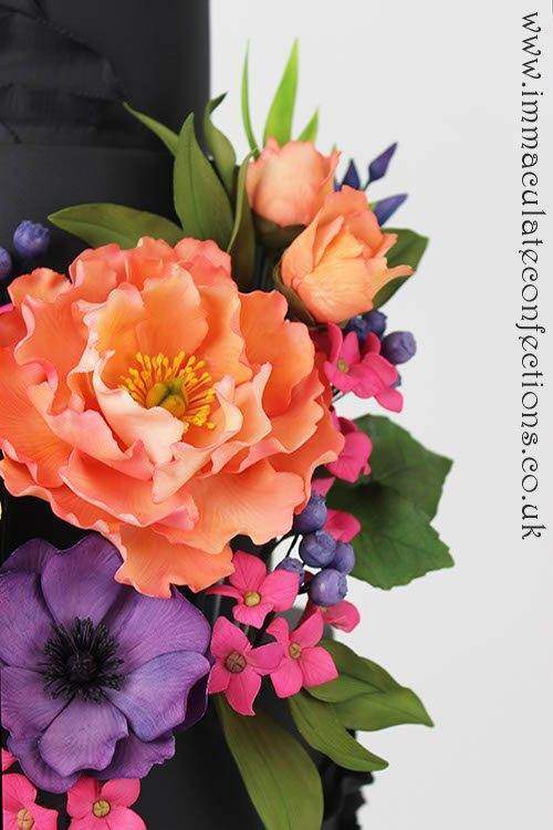 Black and Bright Floral Wedding Cake 5 - Immaculate Confections - Gallery