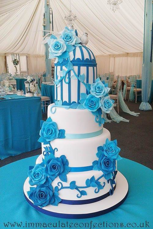 Blue Birdcage and Roses Wedding Cake 1 - Immaculate Confections - Gallery