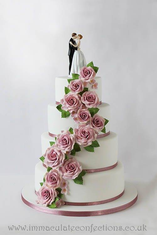 pink and white rose wedding cake immaculate confections gallery 5 weddings 18557