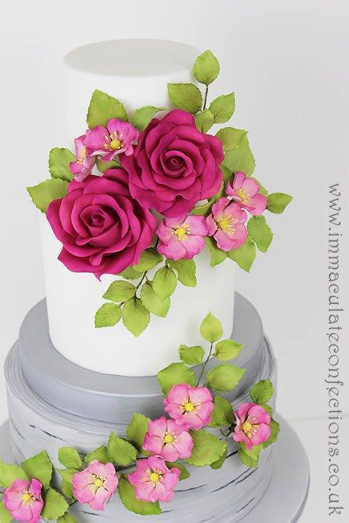 Fuschia and Dogwood Roses Wedding Cake 2 - Immaculate Confections - Gallery