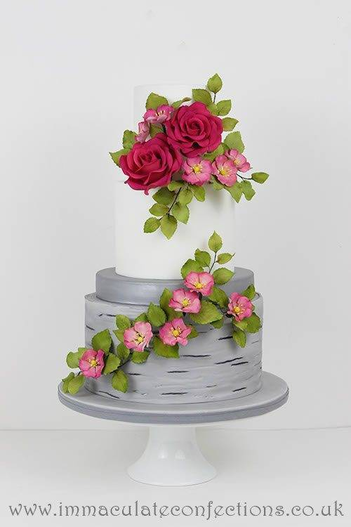 Fuschia and Dogwood Roses Wedding Cake 4 - Immaculate Confections - Gallery