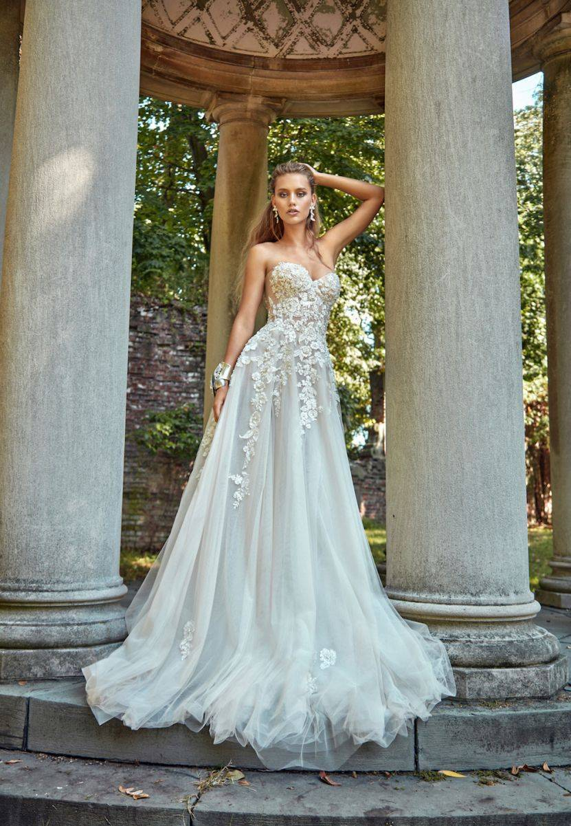 Gia - A fairytale strapless creation with beautiful floral detailing
