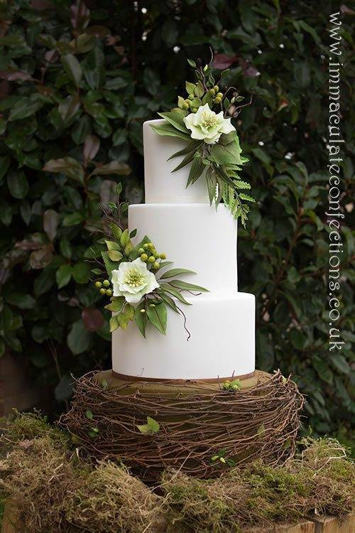 Green and White Hellebore Wedding Cake 3 - Immaculate Confections - Gallery