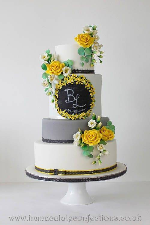 Grey and Yellow Chalkboard Wedding Cake 2 - Immaculate Confections - Gallery