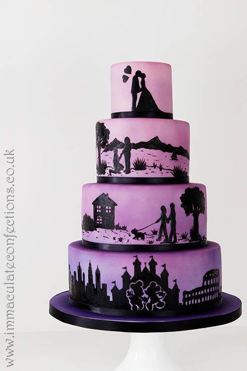 Ombré Silhouette Wedding Cake - Immaculate Confections - Gallery