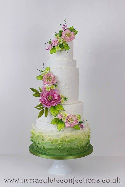 Pink Green Hellebores Wedding Cake 2 - Immaculate Confections - Gallery