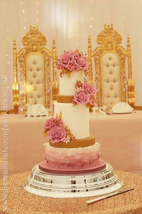 Pink Roses and Gold Wedding Cakejpg 3 - Immaculate Confections - Gallery