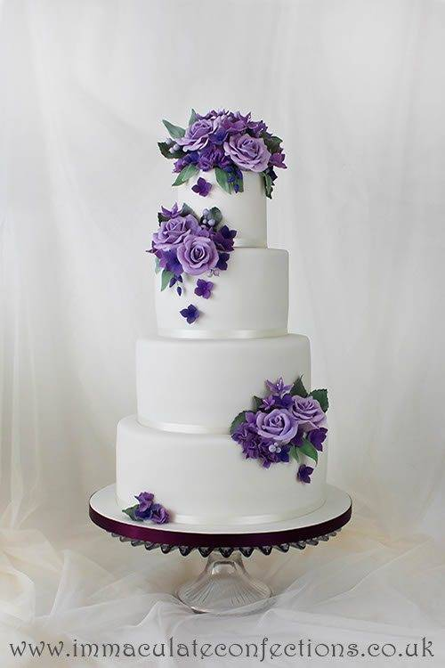 Purple and Sage Floral Wedding Cake 2 - Immaculate Confections - Gallery