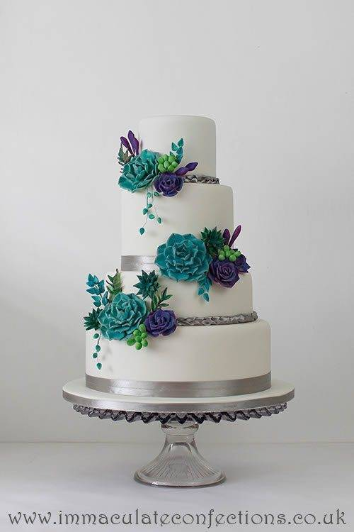 Teal and Purple Succulent Wedding Cake 2 - Immaculate Confections - Gallery
