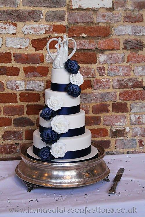 White and Navy Roses Wedding Cake 2 - Immaculate Confections - Gallery