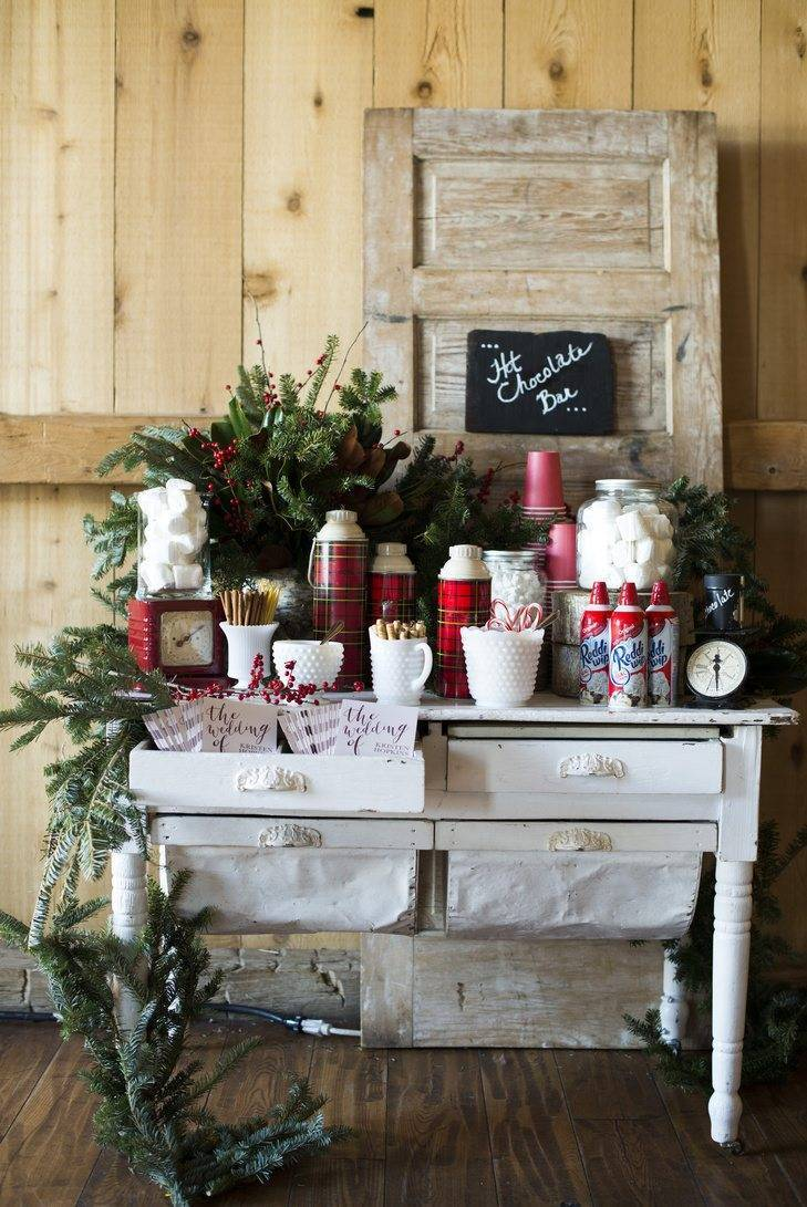 Warm up after outdoor photos with a hot chocolate station Photo: Brinton Studios