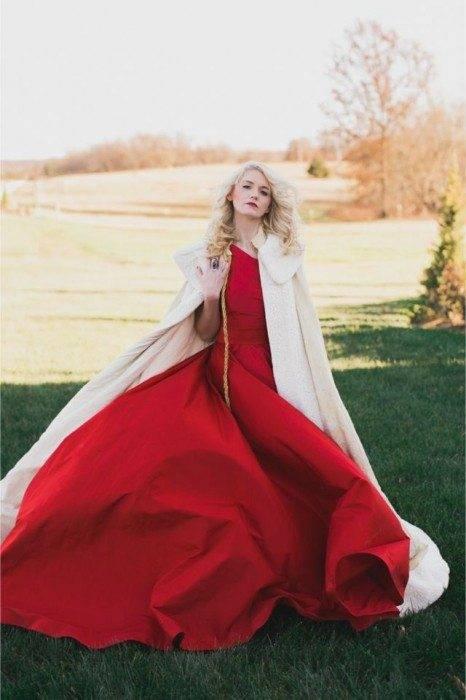 Striking red will make a vivid bride!