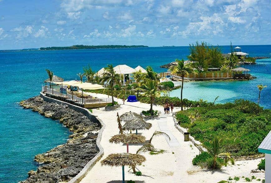 Pearl Island Bahamas beach ocean island from above - Luxury Wedding Gallery