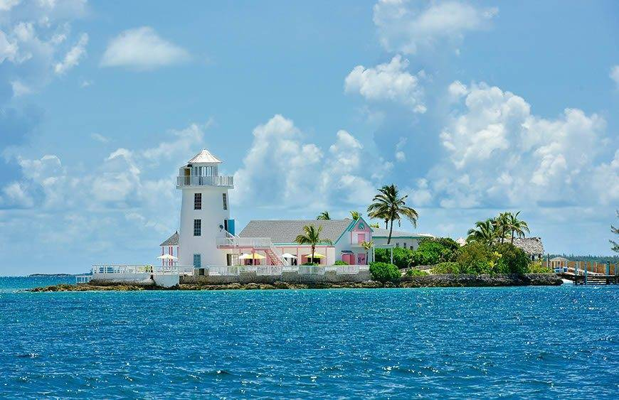 Pearl Island Bahamas lighthouse front view - Luxury Wedding Gallery