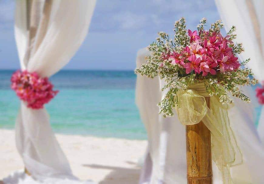 Pearl Island Bahamas wedding ceremony location ceremony decoaration beach - Luxury Wedding Gallery