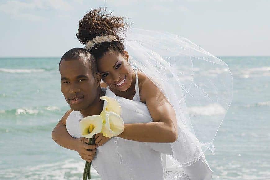 Pearl Island Bahamas wedding couple beach - Luxury Wedding Gallery