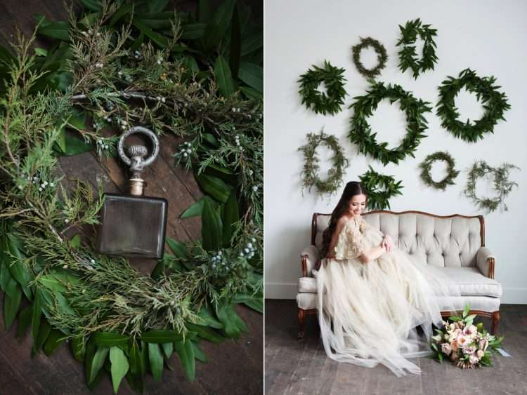 Greenery wreaths will add texture and fresh colour Photo: Calie Rose