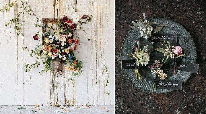 Your floral choices can appear to naturally creep out of the bare walls and accent the individual space. Photo: My Italian Wedding