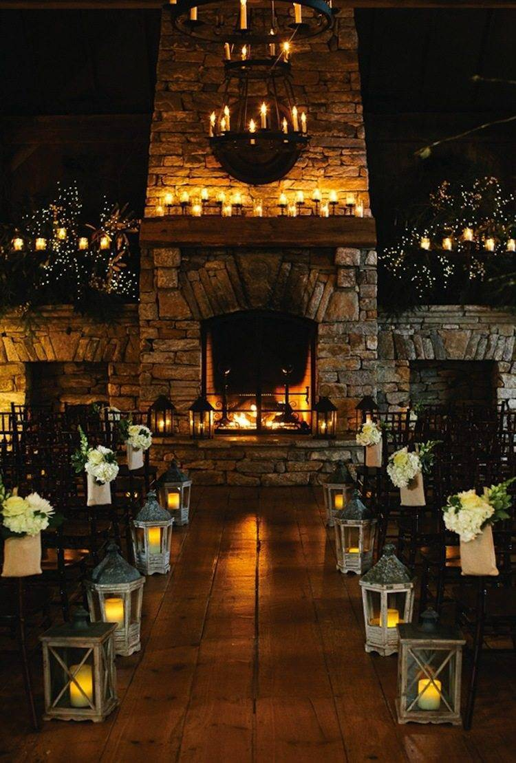 Gorgeous open fire creates a perfect atmosphere