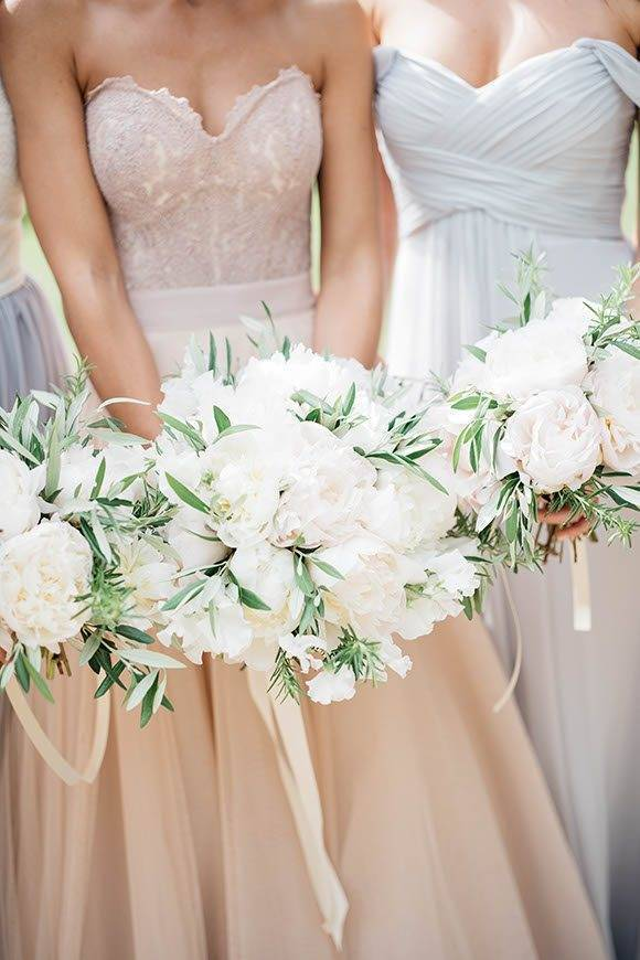 wedding bouquet with peonies and olive branches - Luxury Wedding Gallery