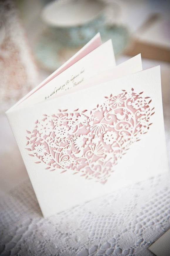 18whimsical heart laser cut wedding invitation - Luxury Wedding Gallery