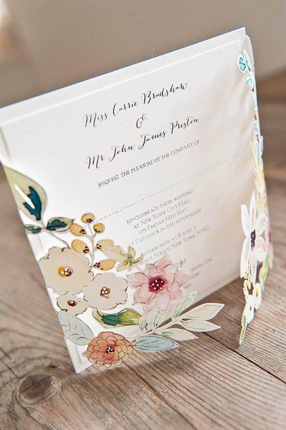 22 Hummingbird Cards Botanicals laser cut wedding invite - Luxury Wedding Gallery