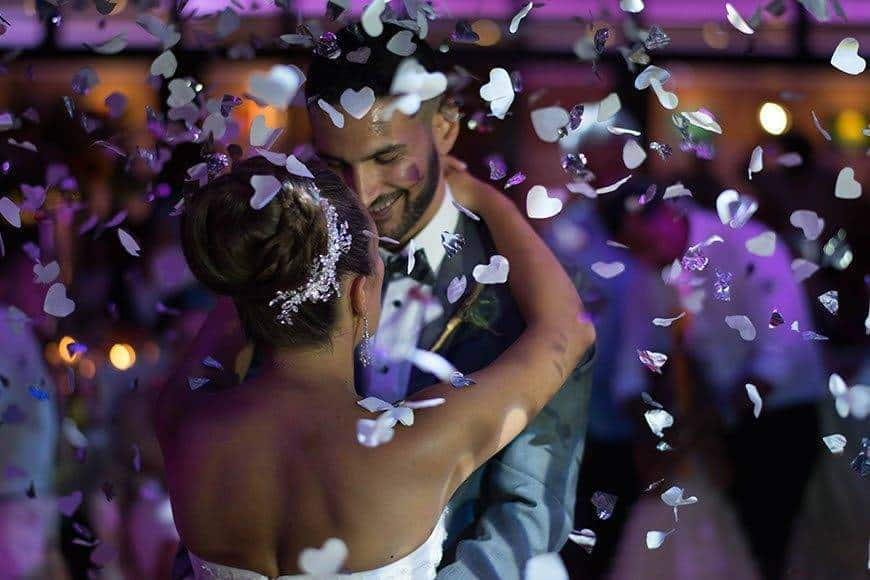 First dance bride and groom with confetti - Luxury Wedding Gallery