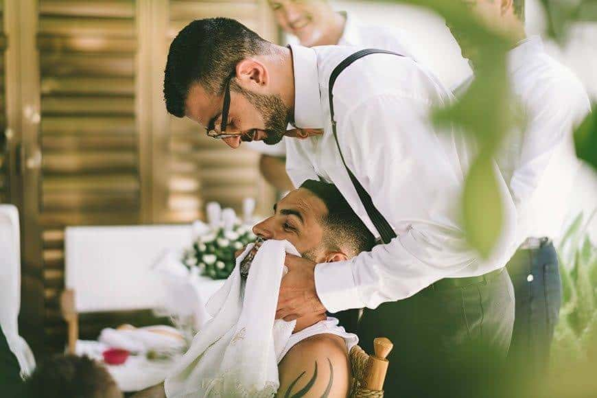 Groom getting ready with best man in Cyprus - Luxury Wedding Gallery