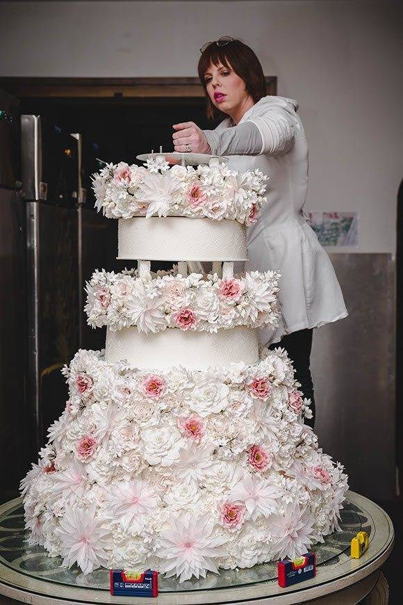 Grand cake standing over 6 feet with 4500 sugar flowers tuscan wedding cakes  - Luxury Wedding Gallery