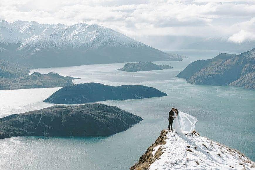 Winter wedding moments overlooking the spectacular Wanaka - Luxury Wedding Gallery