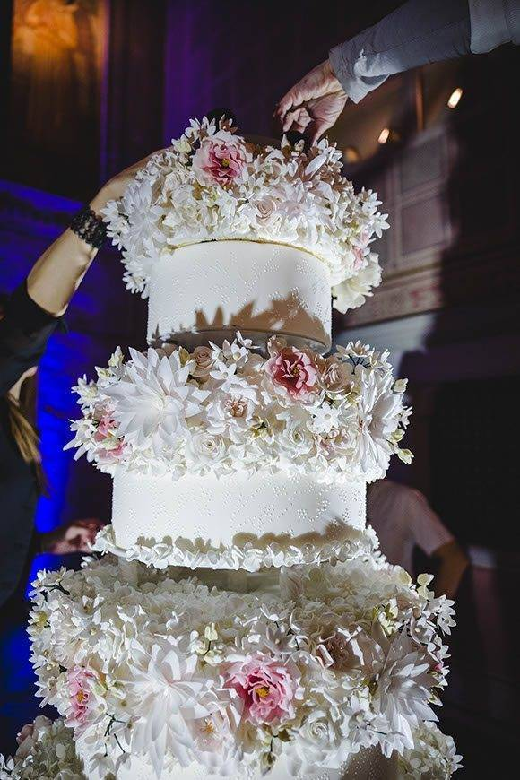 elena foresto photography four seasons floral cake set up tuscan wedding cakes  - Luxury Wedding Gallery