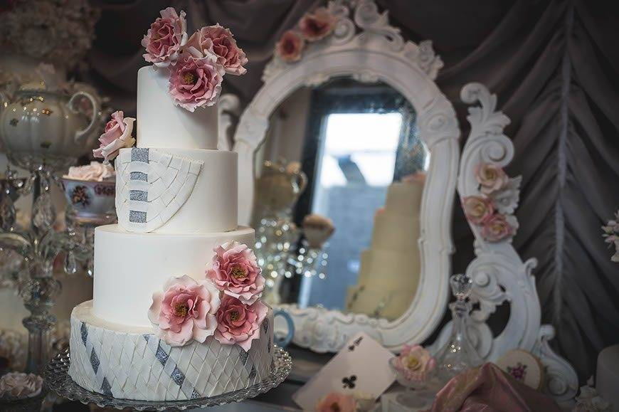 lattice detail alice in wonderland inspired tuscan wedding cakes.  - Luxury Wedding Gallery