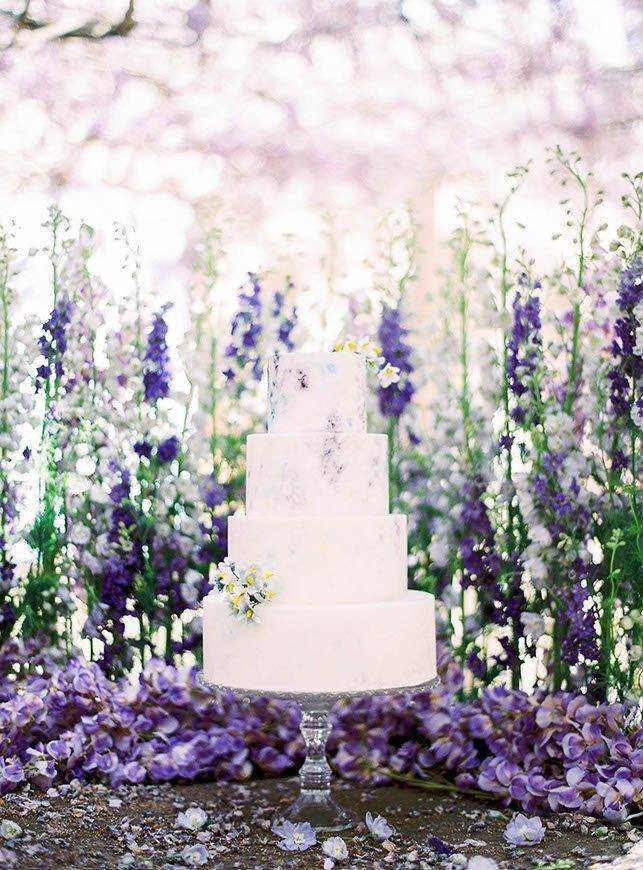lavender and lilac painting inspired tuscan wedding cakes - Luxury Wedding Gallery