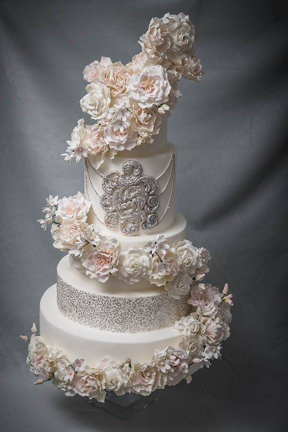 sugar flower and edible sequin fairytale design inspired by Louise Holm Ferragamo of made by made shot by Elena Foresto Tuscan wedding cakes  - Luxury Wedding Gallery