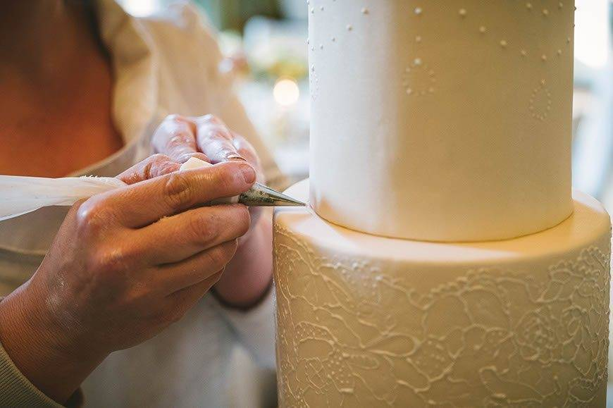 villa cora destination wedding champagne hand piped lace design tuscan wedding cakes - Luxury Wedding Gallery