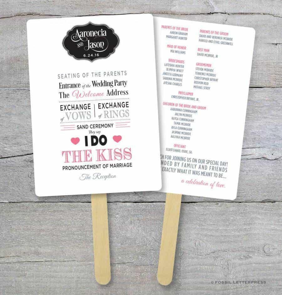 diy wedding program fan kit order of service fan wedding program fans kraft paper wedding program 1
