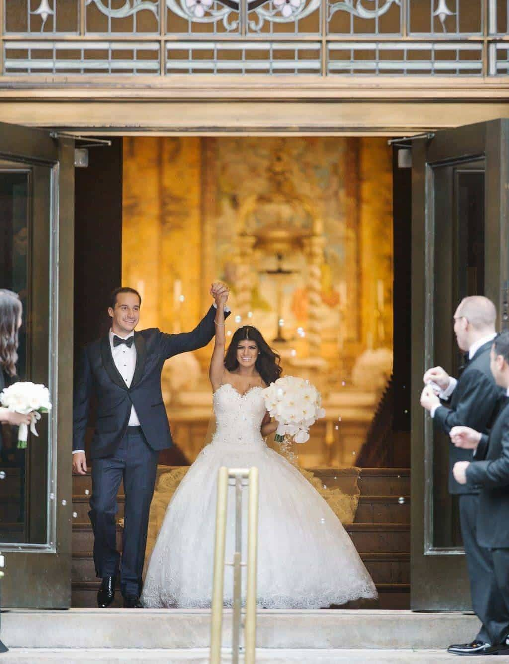 A Grand New York City Wedding Enter the Bride and Groom