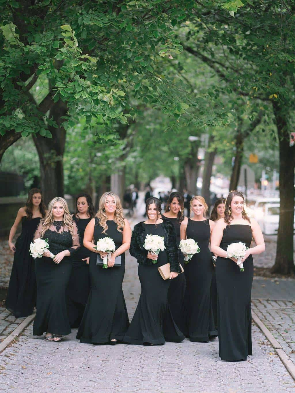 A Grand New York City Wedding Bridesmaids in black