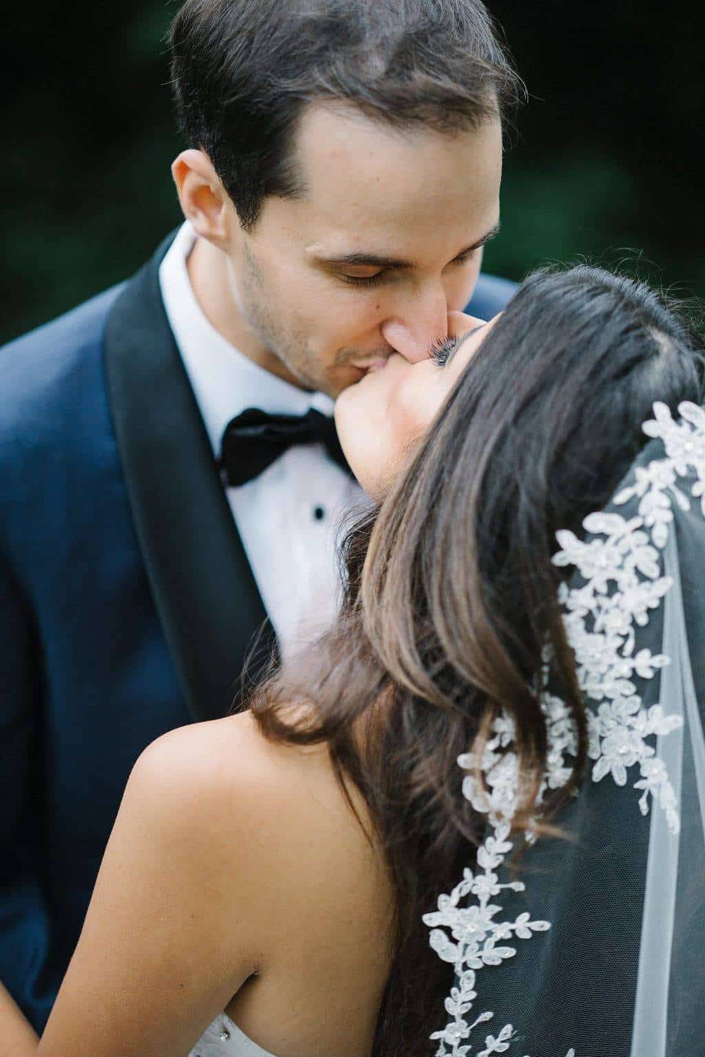 A Grand New York City Wedding Kiss