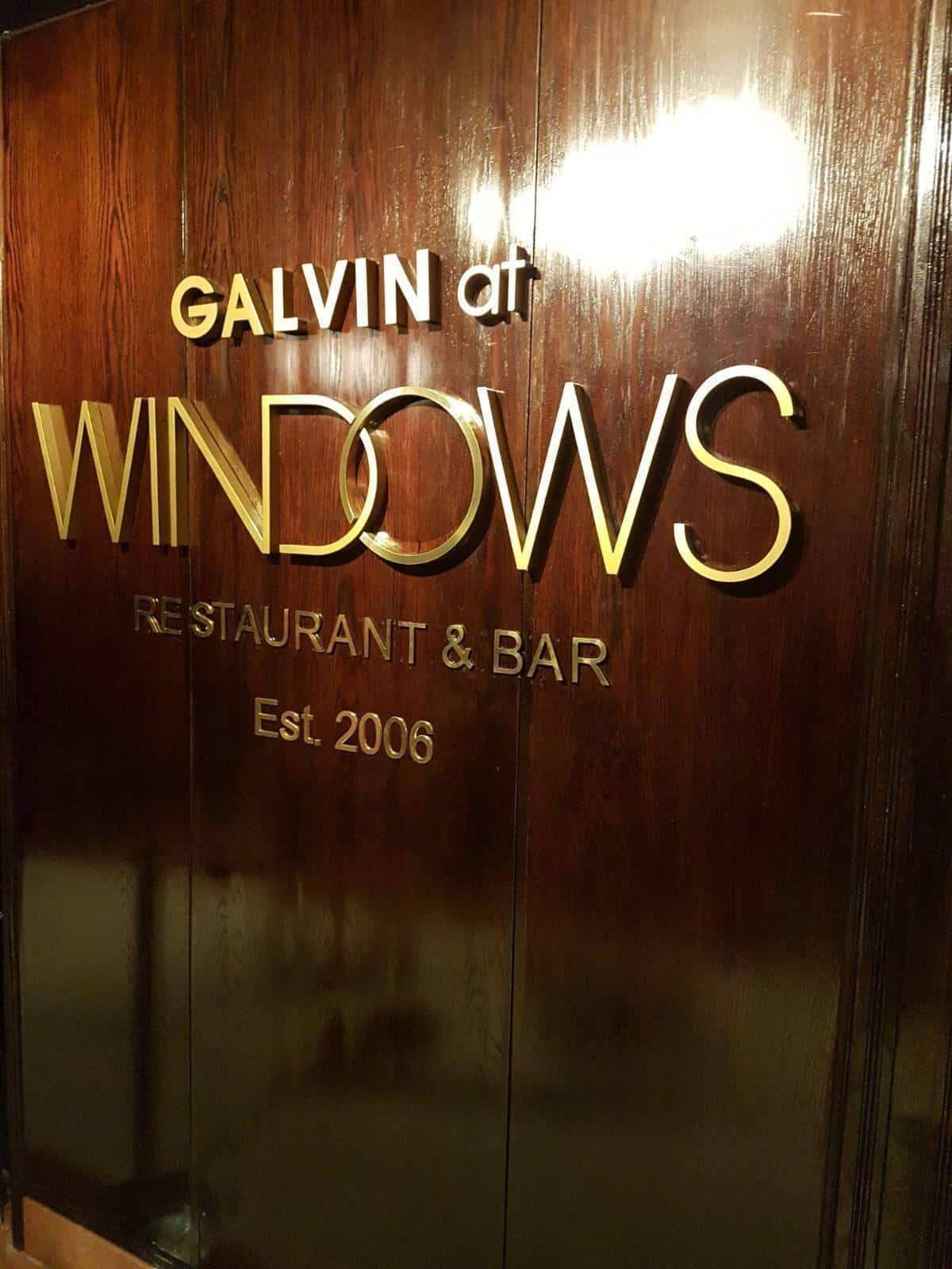 Taking dining to new heights - Galvin at Windows