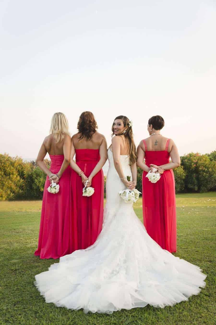 Outdoors Indoors wedding - the bride with bridesmaid