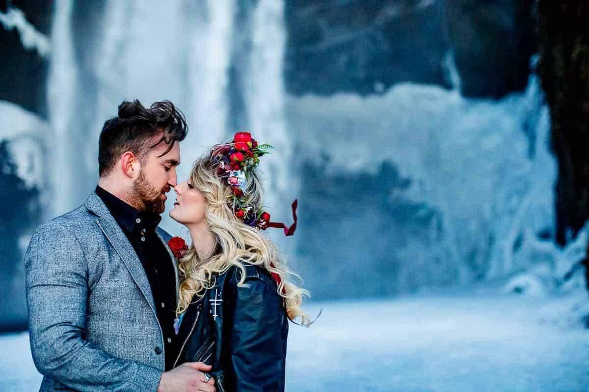 Iceland Wedding Photography Waterfall Lina and Tom - Luxury Wedding Gallery