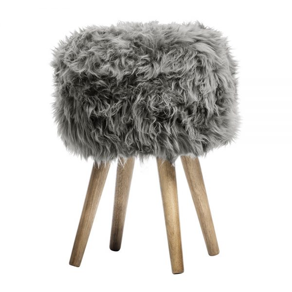 A by Amara - Sheepskin Stool - Grey